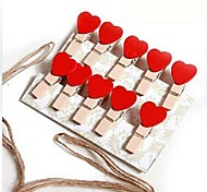10 PCS Wood Heart Shaped Multifunctional Clips (Random Color)