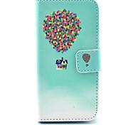 padrão de casa balão colorido estojo de couro pu com slot para cartão e stand para Samsung Galaxy S4 mini-i9190