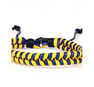 Comfortable Adjustable Men's Leather Cool Hard Bracelet Dark Blue And Yellow Braided Leather(1 Piece)