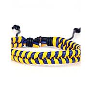 pulsera de cuero duro frío cuero de los hombres cómodos ajustables de color azul oscuro y amarillo trenzada (1 pieza)