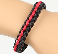 Comfortable Adjustable Men's Leather Soft Bracelet Black And Red Braided Leather(1 Piece)