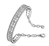 lureme romantico stile 925 gioielli fiore del nastro con il braccialetto zircone per le donne