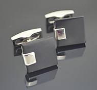 Toonykelly ® Silver Negro Gemelos Moda 1.5cm Hombre (Plata) (1 par)