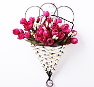 """13.7""""H European Style Multicolor Bud Roses in Basket Hanging on The Wall(Assorted Colors)"""