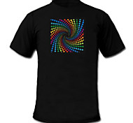 Tee-shirts LED Lampes LED activées par le son Tissu S M L XL XXL Elégant Noir 2 Piles AAA