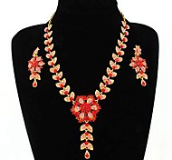 Fashion Flower Necklace And Earring Jewelry Set Random Color