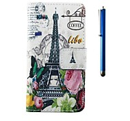 4.95 Inch Tower Pattern PU Wallet Leather Case and Pen for LG Nexus 5
