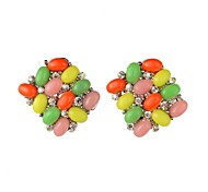 Women's Fashion Smooth Resin Diamante Stud Earring(More Colors)