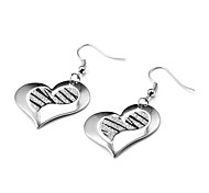 Fashion Inclined Heart Dull Polish Multicolor Alloy Drop Earrings(1 Pair)(Silver,Black and White)