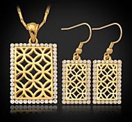 u7® conjunto colgante collar pendientes conjunto vendimia oro verdadero 18k plateó austriaco regalo de la joyería del rhinestone para navidad