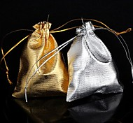 Squar-Shaped Gold/Silver Fabric Gift Bags (1Pc)(2 Colors)