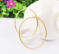 la moda de acero inoxidable grande simple anillo chapado en oro pendiente