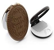 formato mini bonito do biscoito espelho de maquiagem cosmética portátil com cor aleatória comb