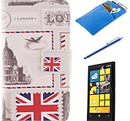 British Style Design PU Leather Full Body Case with Stylus、Protective Film and Soft Pouch for Nokia Lumia N630