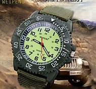 Men's Super Luminous Face Canvas Nylon Strap Quartz Sport Military Wrist Watch (Assorted Colors)