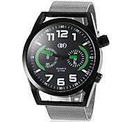 prata com ligação racing faixa de relógio de pulso de quartzo liga masculina