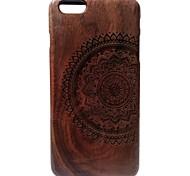 Kyuet Wooden Case Artist Made Black Walnut Laser Engraving Mandala Shell Cover Skin Cell Phone Case for iPhone 6 Plus