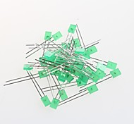 2 * 5 * 7 Square Green Hair Green LED Light-Emitting Diode (50Pcs)