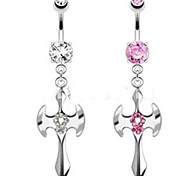 Sex Crystal Cross Pandent Dangle Navel Button Belly Ring Girl's Dancing Body Piercing Jewelry
