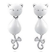 Cute Silver Alloy Lovely Cat Shape Drop Earrings Roxi®(1 pair)