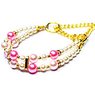 Yopet Pet Necklace With A Dual Pink Crystal Rhinestone Collars for Pet Dogs
