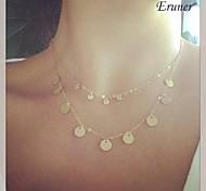 Eruner® Fashion (Sequins) Double Chain Alloy Pendant Necklace