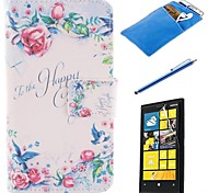 The Rose Design PU Leather Full Body Case with Stylus、Protective Film and Soft Pouch for Nokia Lumia N630