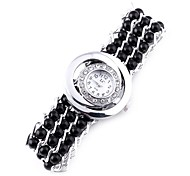 Women's Analog Plastics Beads Strap Design Annular & Drill Dial Style Quartz Watch(Assorted Colors)