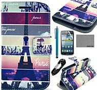 Coco torre Eiffel Fun® mappattern caso de cuero de la PU con el cine y por cable y lápiz para samsung gt-i8262 centrales i8260