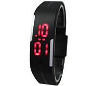 lcd unisex relógio digital quadrado pulseira caso silicone (cores sortidas)