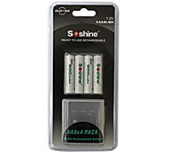 Soshine 1.2V 900mAh AAA Rechargeable Ni-MH Battery with Battery Adapter(4pcs)