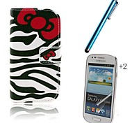 Zebra PU Leather Full Body Case with Touch Pen and Protective Film 2 Pcs for Samsung Galaxy Trend Lite S7390 S7392