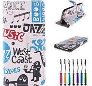 Music Styles Pattern PU Leather Full Body Case with Touch Pen for iPhone 6