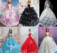 Princess Dresses For Barbie Doll Solid / Lace Dresses For Girl's Doll Toy