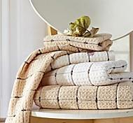SenSleep® 3pcs Hand Towels Pack, Light Brown or Lvory Geometric Design 100% Cotton Hand Towel