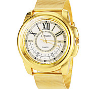 relógio de ouro número roman banda de liga de pulso de quartzo dos homens (cores sortidas)