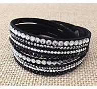 Women handmade velvet bracelet bling rhinestone wrap PU leather bracelet hot drill bangle