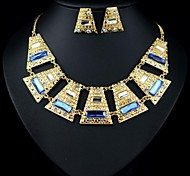 Luxury Elegance Noble Big Jewel Trapezoidal Plate(Includes Necklace&Earrings) Jewelry Set(1 pc)