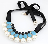 European Style Pearl Imitation Gemstones Ribbon Collar Necklace(More Colors)