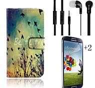 fallen Muster PU-Leder Ganzkörper-Fall mit Kartensteckplatz mit Headset und Schutzfilm 2 Stück für Samsung i9600 s5