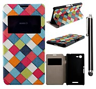 Colorful Ribbon Pattern PU Leather Full Body Case and A Stylus Touch Pen for  Sony Xperia E3 D2203 D2206