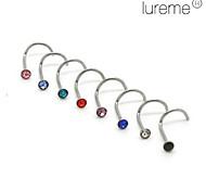 perforación de circón de acero ombligo / oído inoxidable lureme®silver chapado (color clasificado)