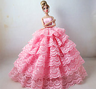 Princess Dresses For Barbie Doll Pink Dresses For Girl's Doll Toy