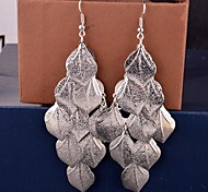 European Multilevel Leaf Shape Alloy Drop Earrings(Golden,Silver)(1 Pair)