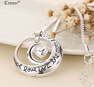 Eruner® 2015 Hot Selling I Love U 2 The Moon and Back Circle with Heart Pendant Necklace Couples Necklace For Girl