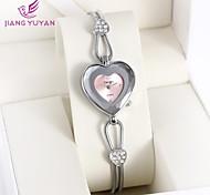 Women's Casual Watch Simulated Diamond Watch Imitation Diamond Quartz Alloy Band Heart shape Black Silver Pink