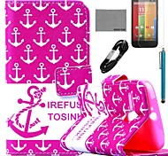 COCO FUN® Red Anchor Pattern PU Leather Full Body Case with Film and USB Cable and Stylus for Motorala Moto G
