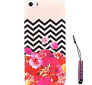 Corrugated Peony Pattern Hard Case & Touch Pen for iPhone 4/4S