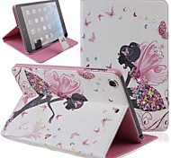 Butterfly Girl Inlaid Shiny Glitter Diamond PU Flip Protective Case Cover for iPad mini 2