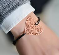 Fashion Women Heart Cut Out Stamping Elastic Bracelet